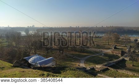 The Confluence Of The Sava And Danube Rivers Panorama On West Side Of Belgrade City With Turkish Ama
