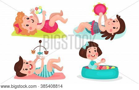 Baby Girl And Boy Lying In Crib And Playing With Rattle Toy Vector Illustration Set