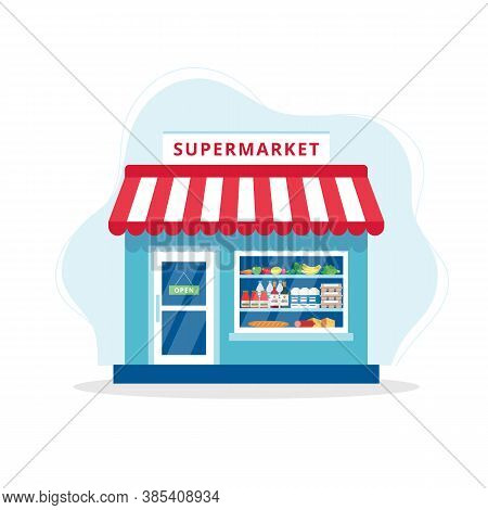 Grocery Store Concept, Supermarket With Different Grocery.