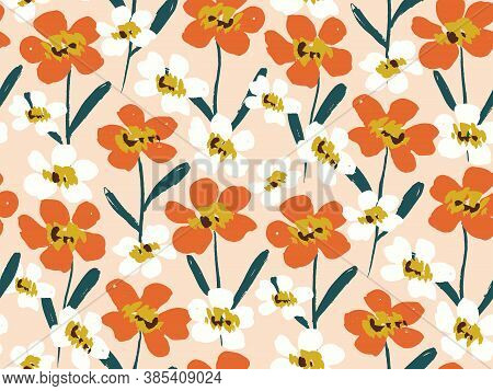 Happy Dry Painted Blooms Seamless Vector Pattern. Lovely Joyous Flowers In Orange And White Flower O