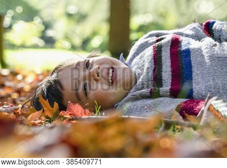 Cropped Shot Of Kid Boy Laying Down On Leaves Falling Under The Tree In Sunny Day ,child Having Fun