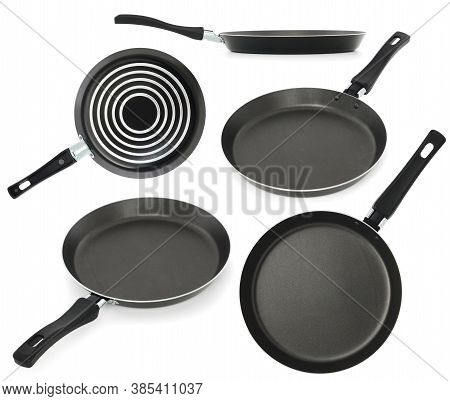 Black Fry Pan, Skillet, Clipping Path, Isolated On White Background. Set Of Photos From Different An