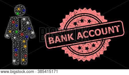 Bright Mesh Network Groom With Bright Dots, And Bank Account Grunge Rosette Seal Print. Illuminated