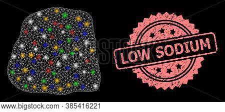 Glowing Mesh Network Stone With Flash Nodes, And Low Sodium Grunge Rosette Seal Imitation. Illuminat
