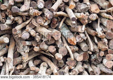 Full Frame Photo Of Firewood Pile Stacked Chopped Wood Trunks For Winter Heating Fireplace And For U