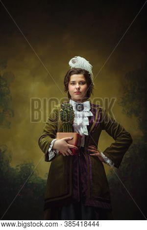 Cactus, Friend. Modern Trendy Look, Portrait Of Renaissance Period Beautiful Woman. Retro Style, Com