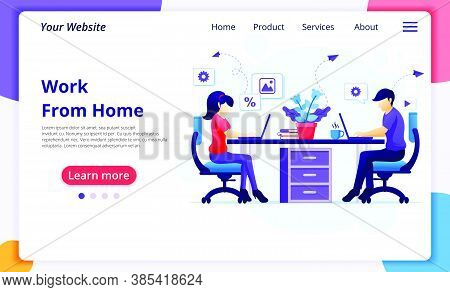 Work From Home Concept, People Sitting At Desk And Work On Laptop. Stay At Home On Quarantine During