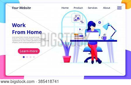 Work From Home Concept, A Woman Sitting At Desk And Work On Laptop, Stay At Home, Quarantine During
