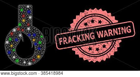 Glowing Mesh Net Flammable Flask With Glowing Spots, And Fracking Warning Corroded Rosette Stamp Sea
