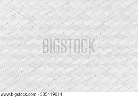 White Texture Bamboo Weaving. Traditional Handicraft Weave Asian Style Pattern Background.