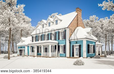 3D Rendering Of Modern Classic House In Colonial Style In Winter Day