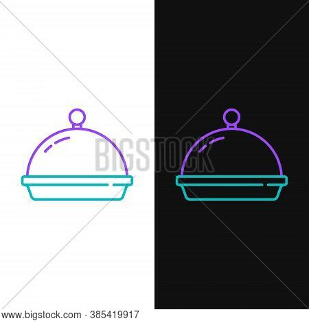 Line Covered With A Tray Of Food Icon Isolated On White And Black Background. Tray And Lid. Restaura