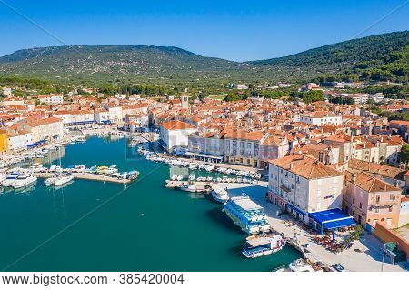 Panoramic View Of Beautiful Town Of Cres On The Island Of Cres, Adriatic Sea In Croatia