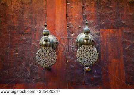 Old Wooden Door In Morocco. Ancient Beautiful Gate In An Old City Of Morocco