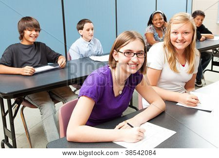 Six adolescent school children sitting at tables in class.