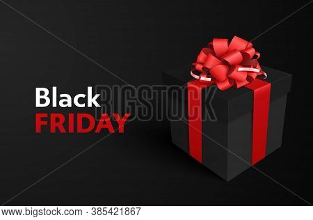 Super Sale. Black Friday. Decorative Black Gift Box With Red Bow On Black Background For Sale Design