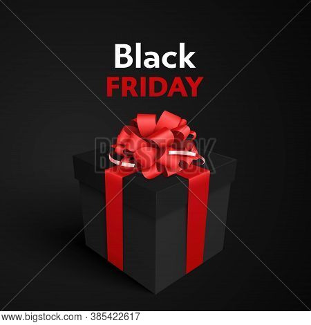 Black Friday Realistic Black Gift Box With Red Bow. Vector Illustration