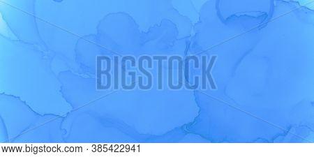 Blue Pastel Fluid Liquid. Watercolor Background. Creative Ink Stains Pattern. Pink Pastel Fluid Wate