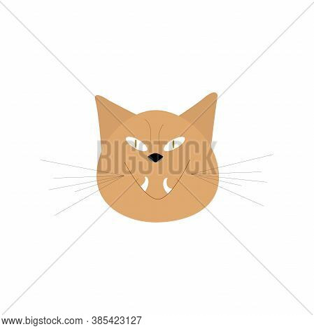 Cute Ugly Cat, Evil Look On A White Background . Cartoon Character In A Vector Illustration.