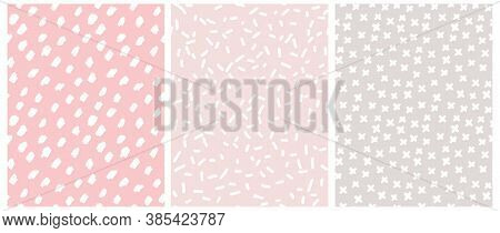 Cute Pastel Color Geometric Seamless Vector Patterns. White Hand Drawn Spots And Crosses On A Gray A