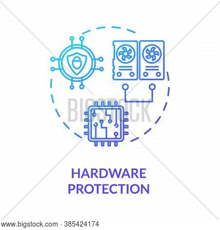 Hardware Protection Concept Icon. Cpu, Memory, Input-output Defence Idea Thin Line Illustration. Cyb