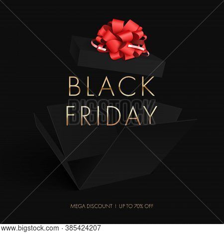 Black Friday Sale. Black Box With A Red Bow Opened To Pieces On A Black Background.vector Illustrati