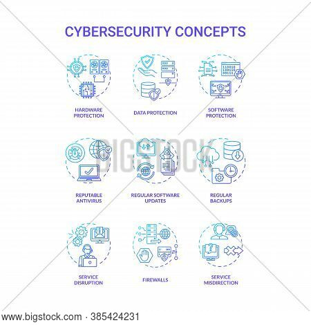 Cybersecurity Concept Icons Set. Databases Protection Idea Thin Line Rgb Color Illustrations. Reputa