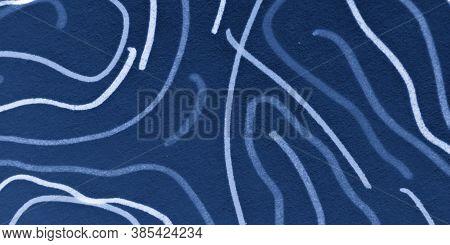 Mark Scribble Design. Sea Distress Texture. Indigo Chaotic Doodles. Scratch Sketch. Nautical Scribbl