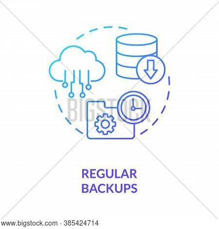 Regular Backups Concept Icon. System Restore. Cloud Backup Service Idea Thin Line Illustration. Rest