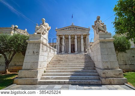 Marble Statues Of Plato And Socrates, Ancient Greek Philosophers, In Chairs, Main Entrance To Academ