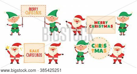 Santa Claus Cartoon Character With Banner. Set Of Funny Happy Santa Claus And Elf Characters Hold A