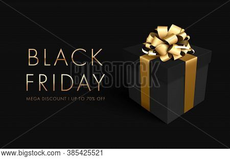 Black Friday Sale Background With Gift Box. Banner, Poster, Golden Text Color On Dark Background For