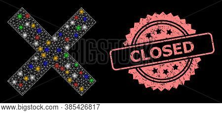 Glowing Mesh Net Reject Cross With Glowing Spots, And Closed Rubber Rosette Watermark. Illuminated V