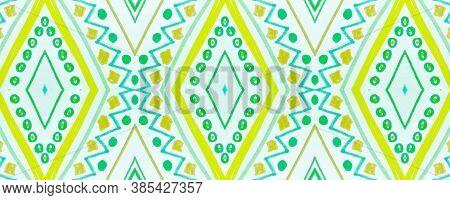 Seamless Tribal Ornament. Blue African Ethnic Pattern. Hand Drawn Shibori Motif. Geometric Tradition