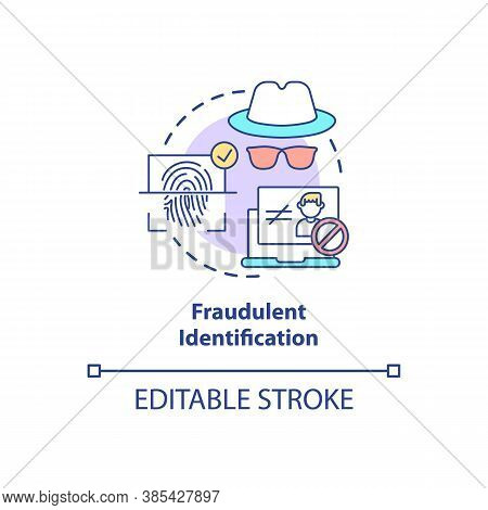 Fraudulent Identification Concept Icon. Fake Personality Searching Systems. Biometrics Usage Ideas I