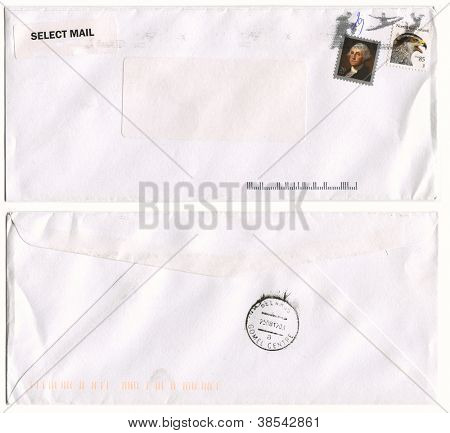 USA - CIRCA 2012: Mailing envelope with postage stamps dedicated to George Washington and Goshawk, and the reverse side, circa 2012.