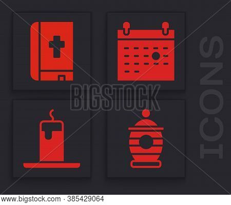 Set Funeral Urn, Holy Bible Book, Calendar Death And Burning Candle Icon. Vector