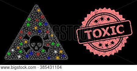 Shiny Mesh Net Skull Toxic Warning With Light Dots, And Toxic Grunge Rosette Seal Print. Illuminated
