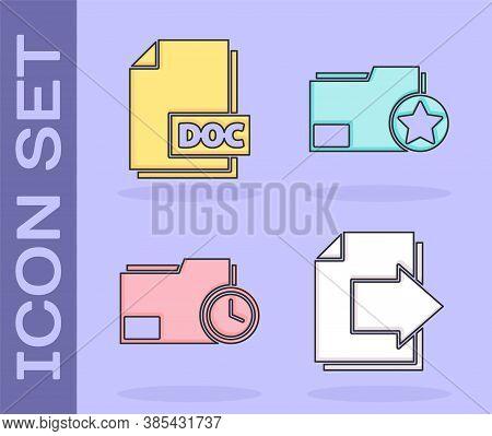 Set Next Page Arrow, Doc File Document, Document Folder With Clock And Document Folder With Star Ico