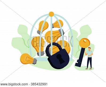 Creative Ideas Flat Vector Landing Page Template. Winged Lightbulbs Closed In Birdcage. Liberating P