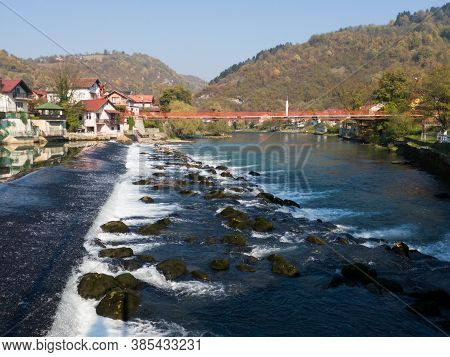 Banja Luka, Bosnia And Herzegovina - October 26, 2019: Scenic View Of Cascades On Vrbas River In Ban