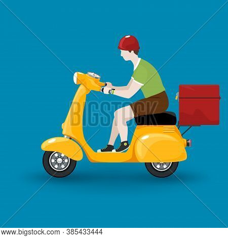 Young Guy Rides A Scooter, Orange Vintage Scooter With Box For Food Delivery Isolated On Blue Backgr