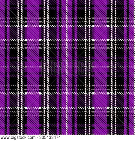 Cute Punk Purple Plaid Vector Seamless Pattern. Checkered Scottish Flannel Print For Celtic Home Dec