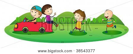 illustration of boys and car on a white background