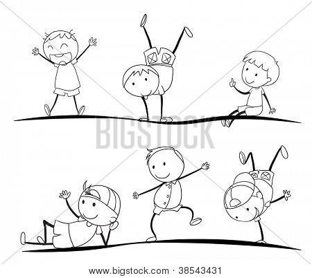 Ilustración de dibujos de los niños sobre un fondo blanco