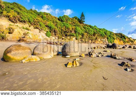 Sandy beach on the Pacific Ocean, New Zealand. The picturesque group of huge round stone boulders Moeraki and their remains. The popular tourist attraction. The concept of exotic,  ecological tourism