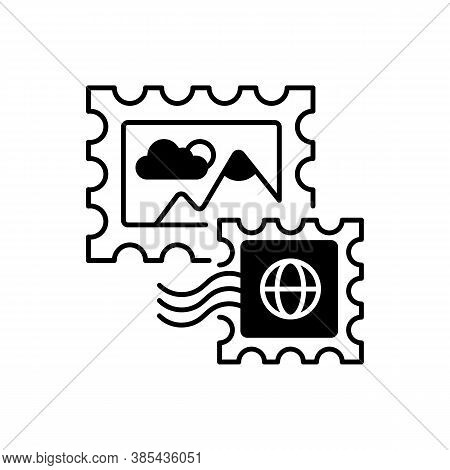 Postage Stamps Black Linear Icon. Collecting Rare Postmarks Hobby, Philately Outline Symbol On White
