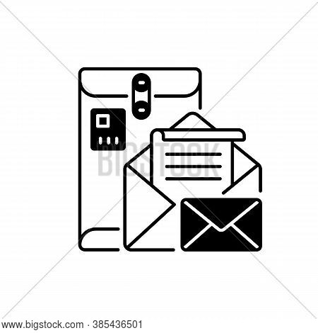 Postbox Black Linear Icon. Personal Mailbox, Postal Service Outline Symbol On White Space. Old Fashi