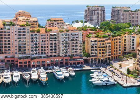 Monte Carlo, Monaco - August 15, 2018: Port De Fontvieille Aerial View At Sunny Summer Day