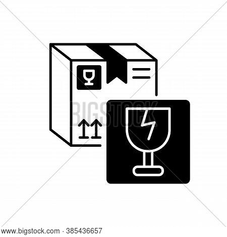 Fragile Items Black Linear Icon. Breakable Box Content. Postal Service Outline Symbol On White Space
